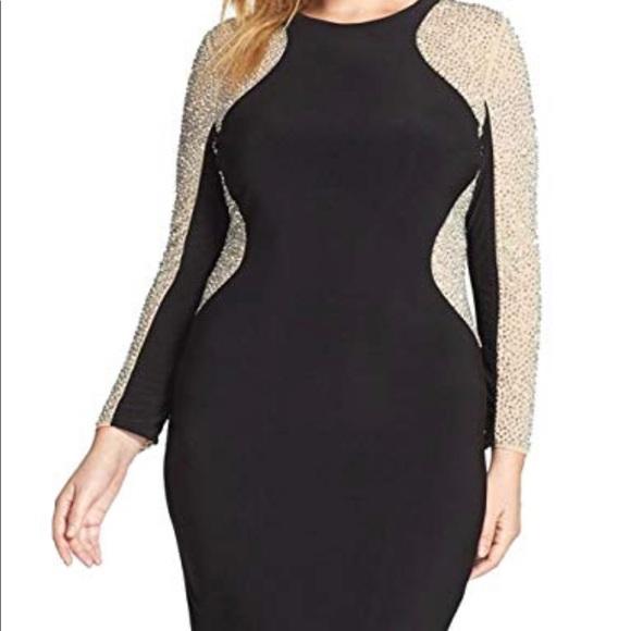 e9a6af8a0d2a xscape plus size beaded illusion bodycon dress. M_5c407ddbaa87707843892825